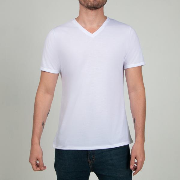 9dbbbe36bb20f T SHIRT Caballero Cuello V 100% Poliéster Premium Blanco (para sublimar)  Corte Regular